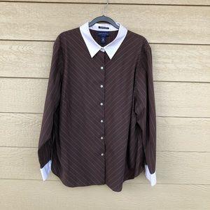 Charter Club Brown & White Dress Shirt 24W
